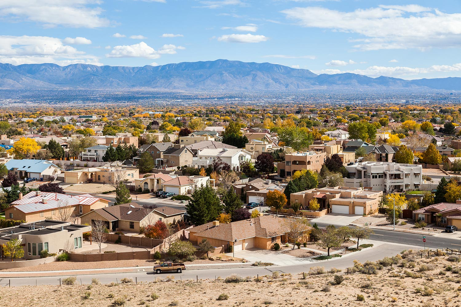 Aerial view of homes and businesses in Albuquerque