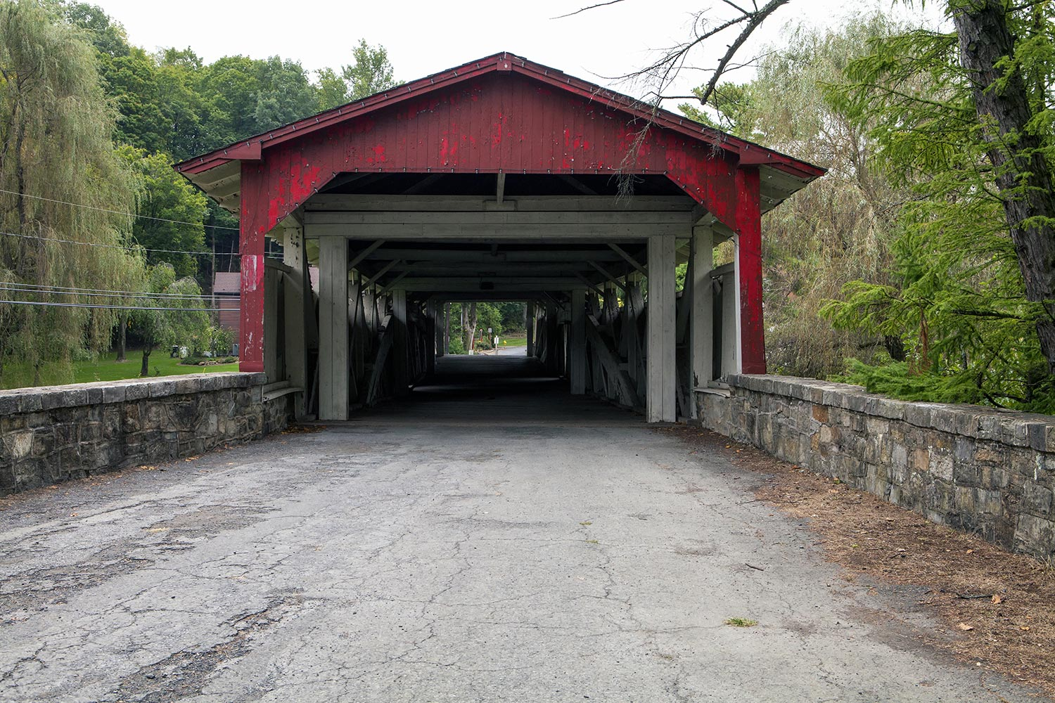Red wooden covered bridge in Allentown