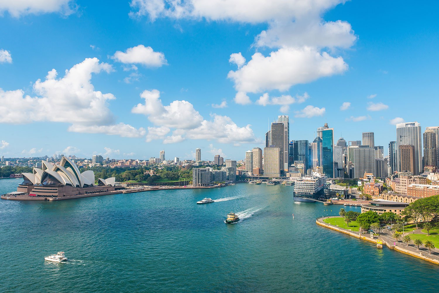 View of the Sydney Opera House, skyline and coast in Australia