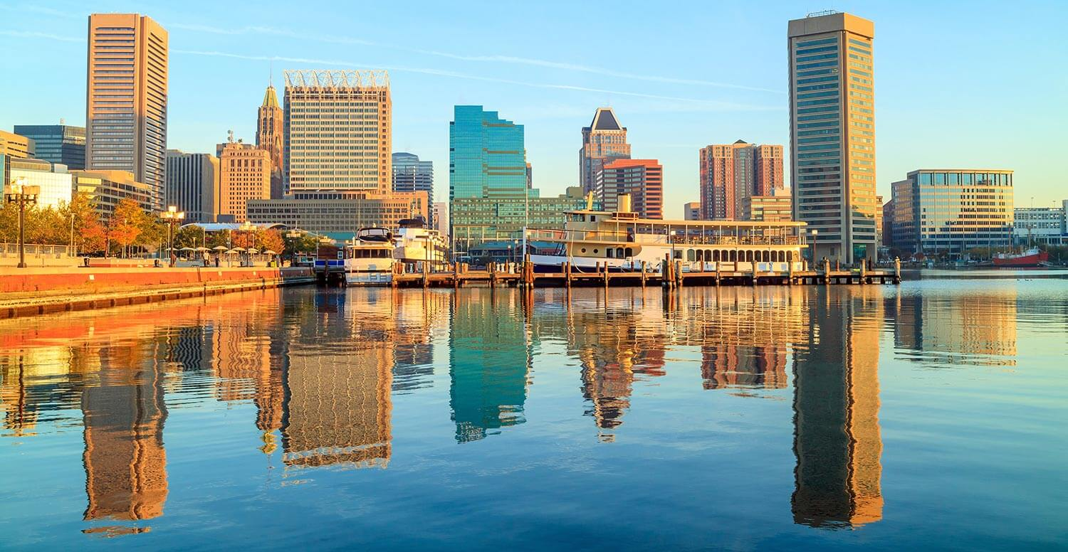 Baltimore skyline viewed from the harbor