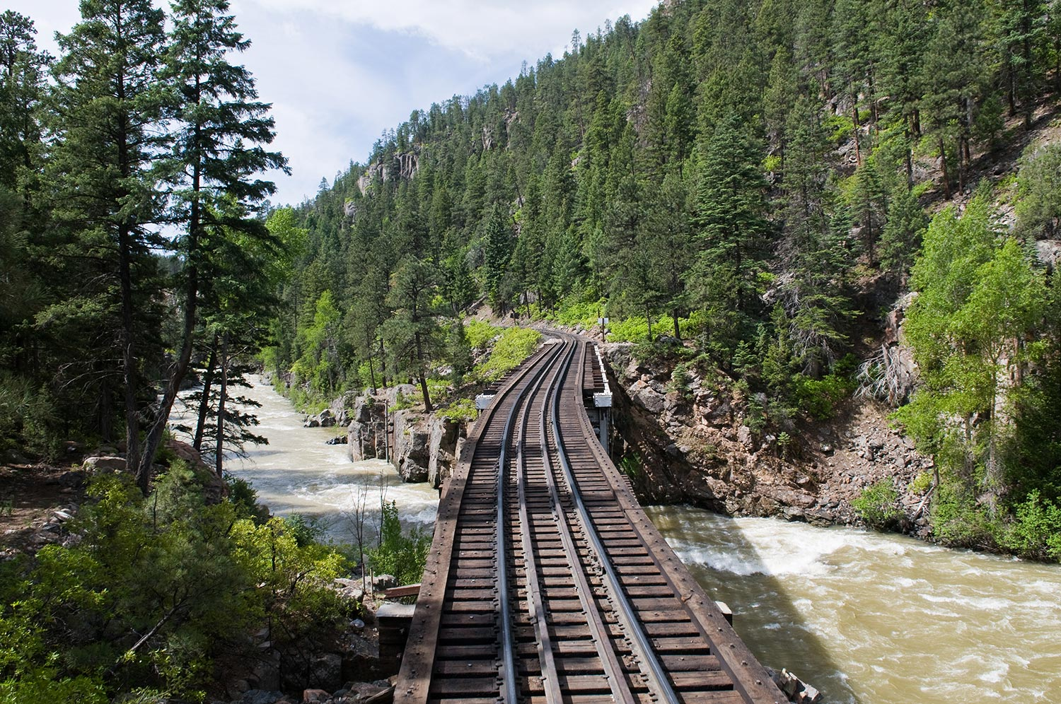 Railroad tracks through the mountains in Durango, CO