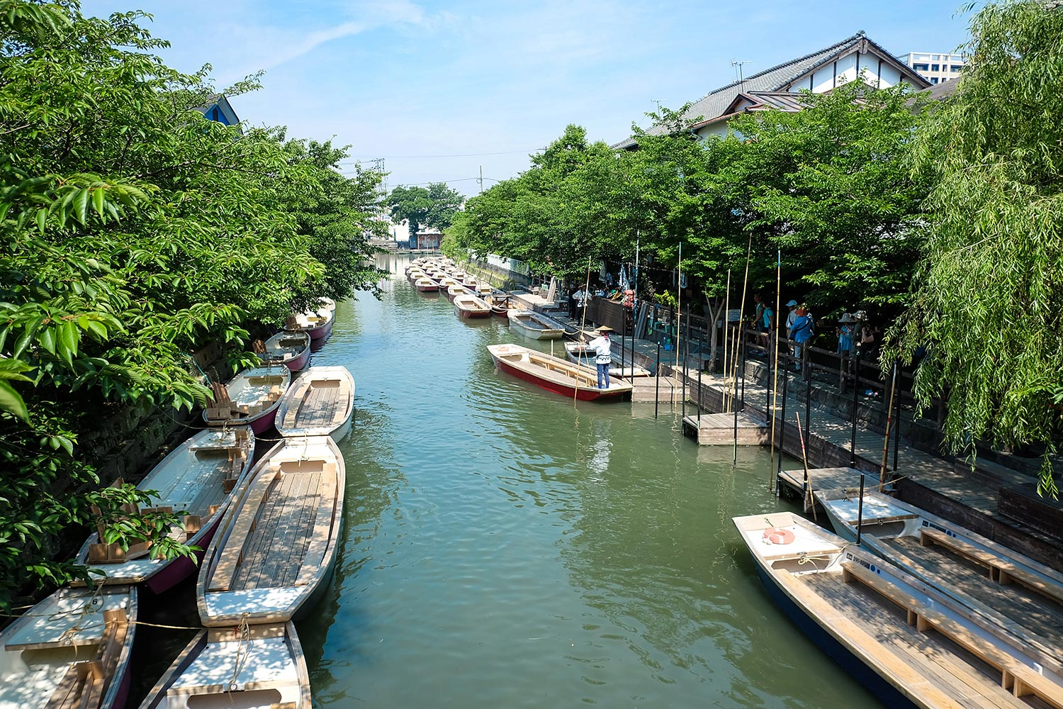 Small boats along the deck in a Fukuoka canal