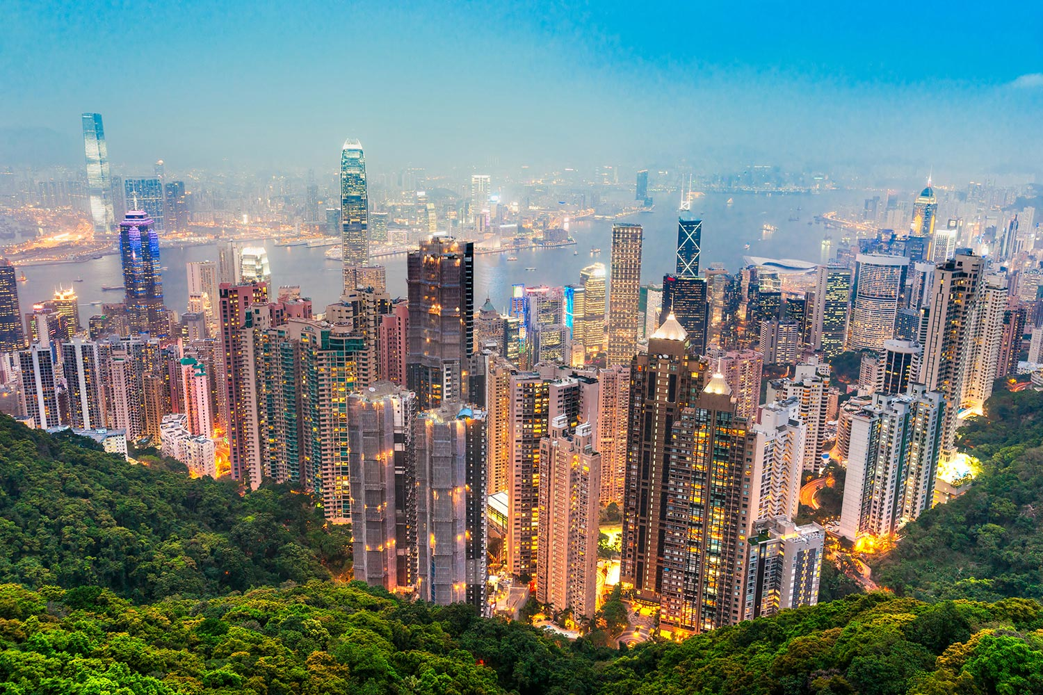 Aerial view of illuminated skyscrapers in Hong Kong