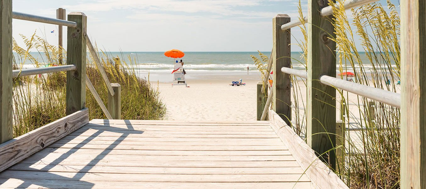A wooden bridge leads into the sand at Myrtle Beach