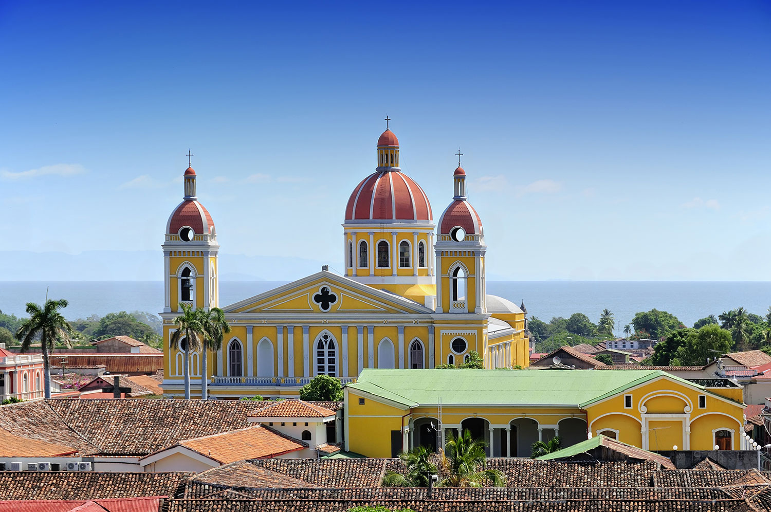 Aerial view of yellow multi-story buildings in Nicaragua