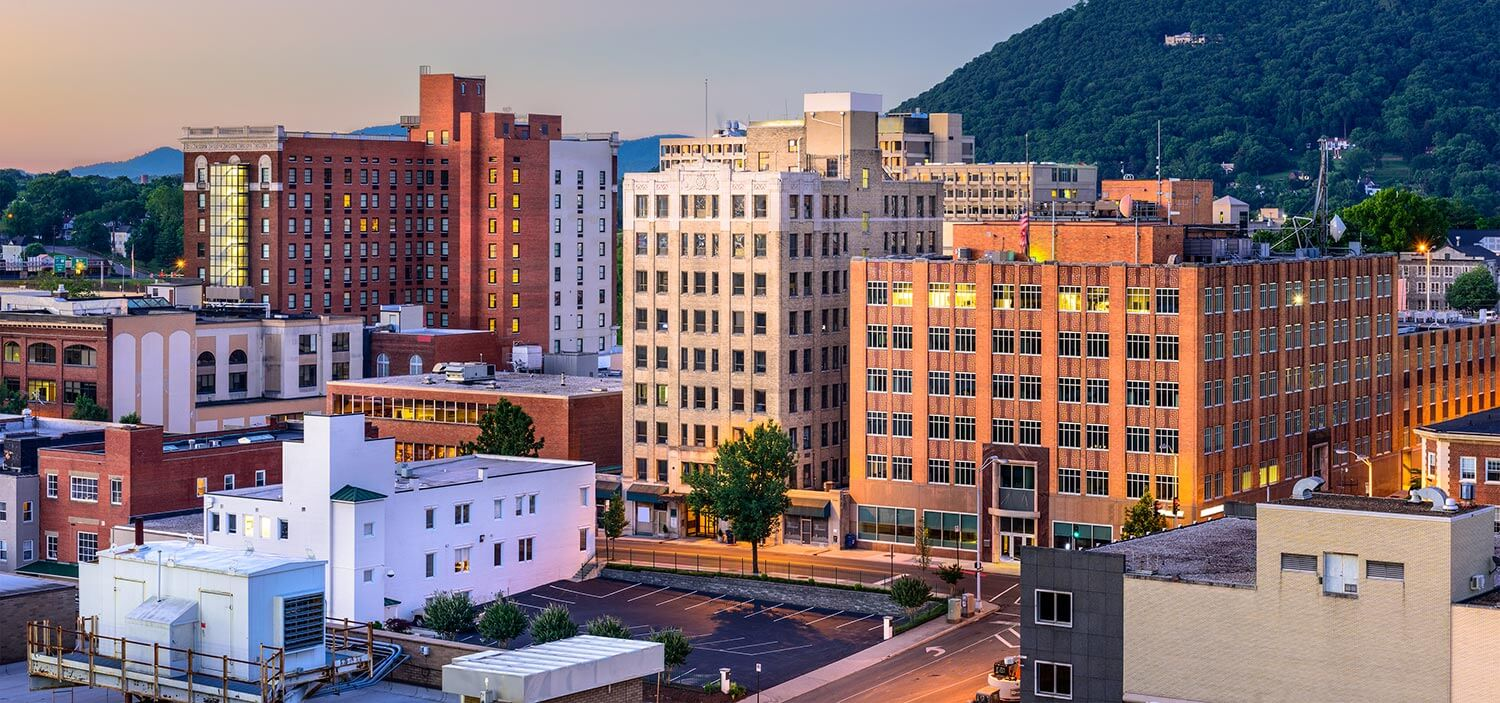 Multi-level buildings in downtown Roanoke