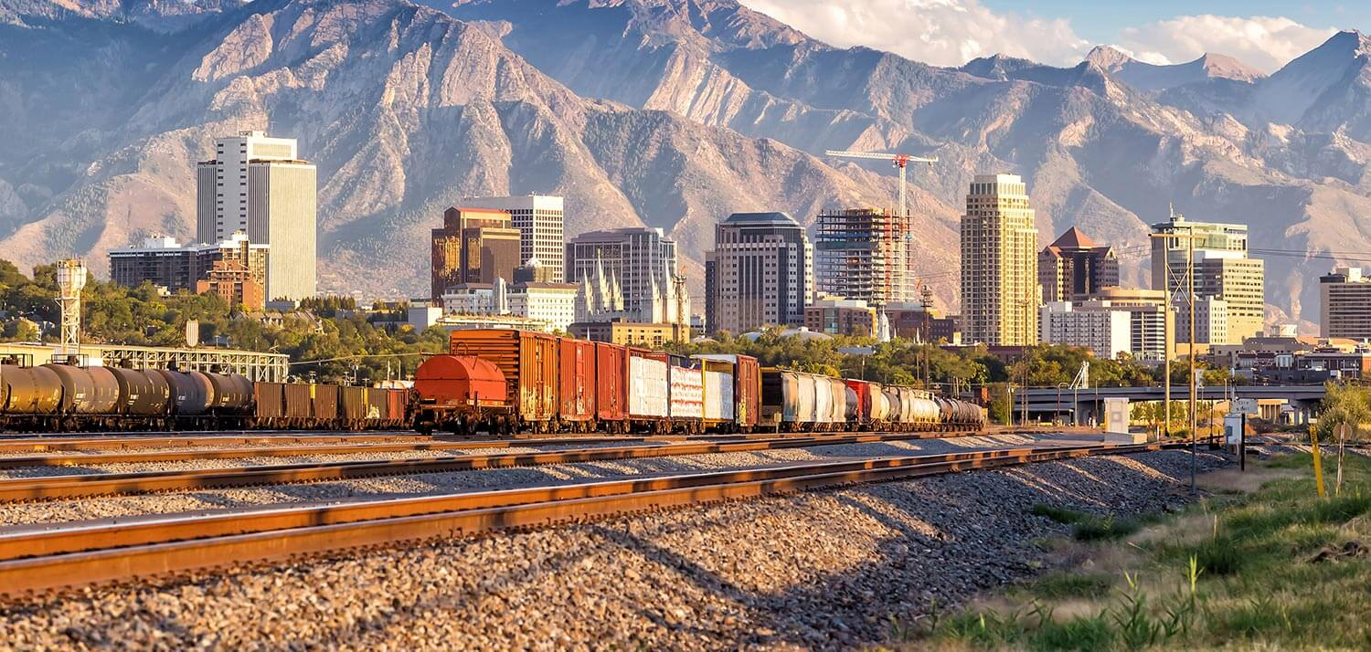 Freight trains leading into downtown Salt Lake City