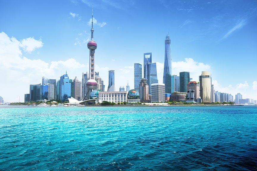 View of skyscrapers in Shanghai from the sea