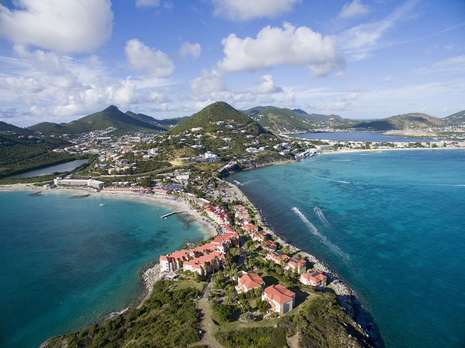 Small houses surrounded by water in Sint Maarten Island