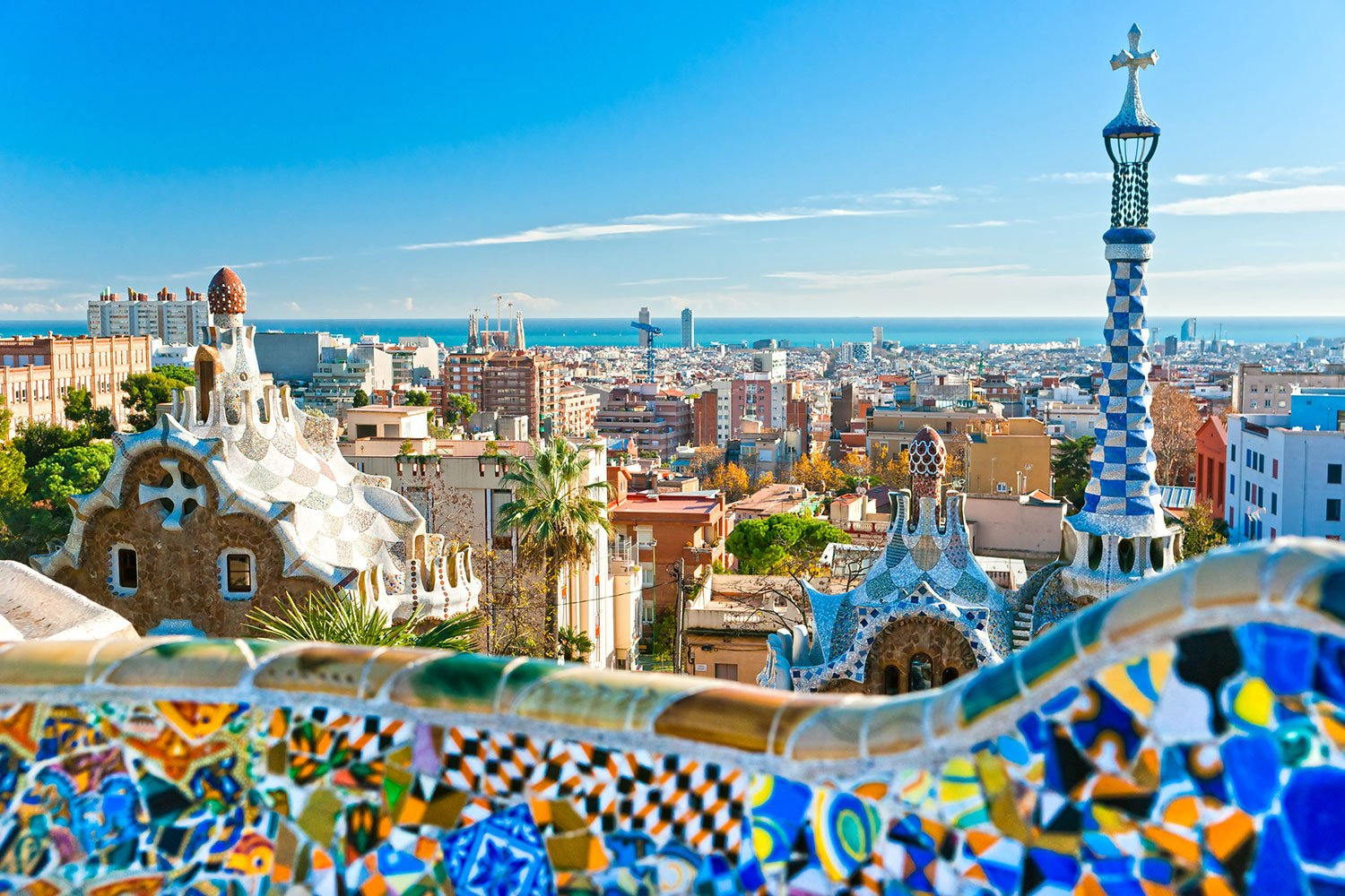 Urban landscape in Spain with a mosaic bridge in the foreground