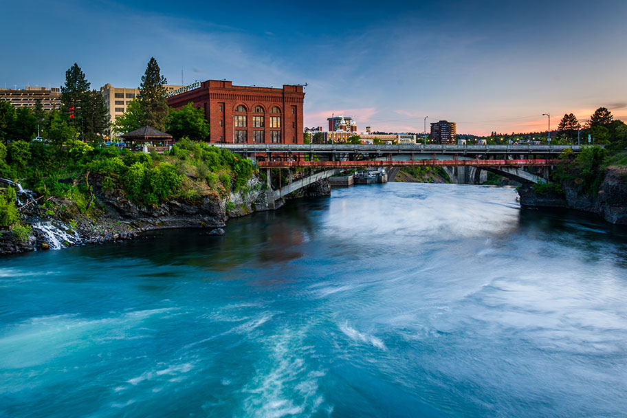 Water flows under a bridge in Spokane