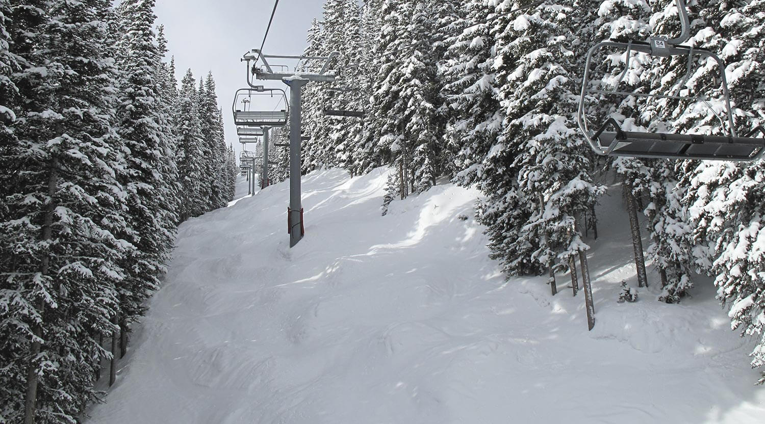 A ski lift in the midst of snowy evergreen trees in Vail