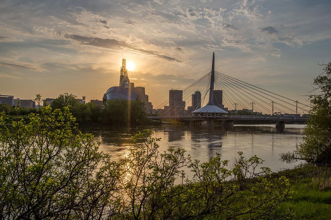 Sunrise over the water in Winnipeg