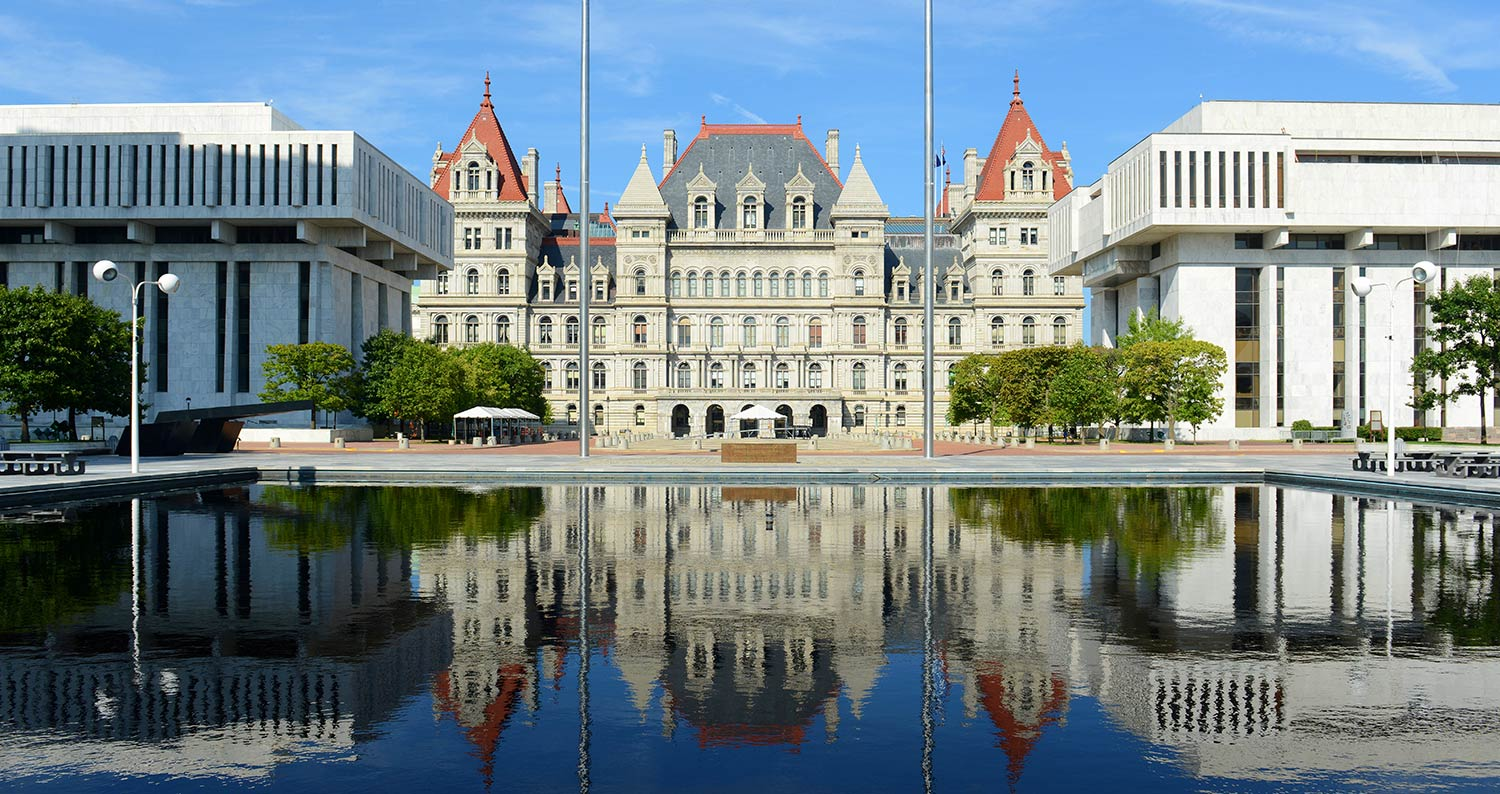 New York State Capitol building in Romanesque Revival and Neo-Renaissance style in Albany