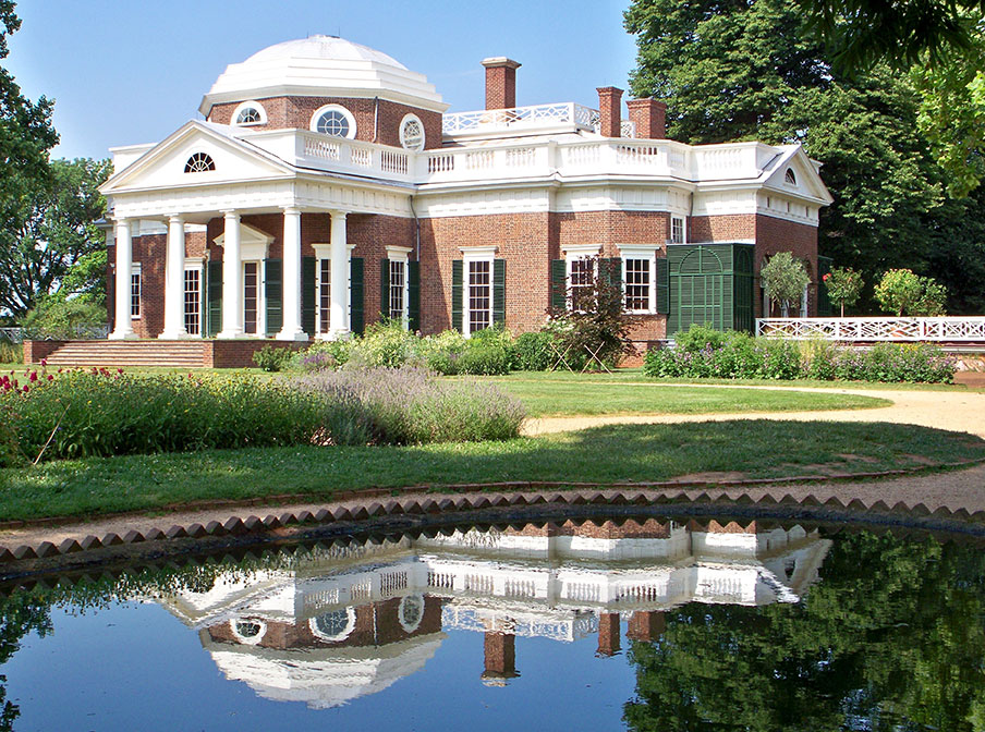 Monticello with pond reflection in Charlottesville