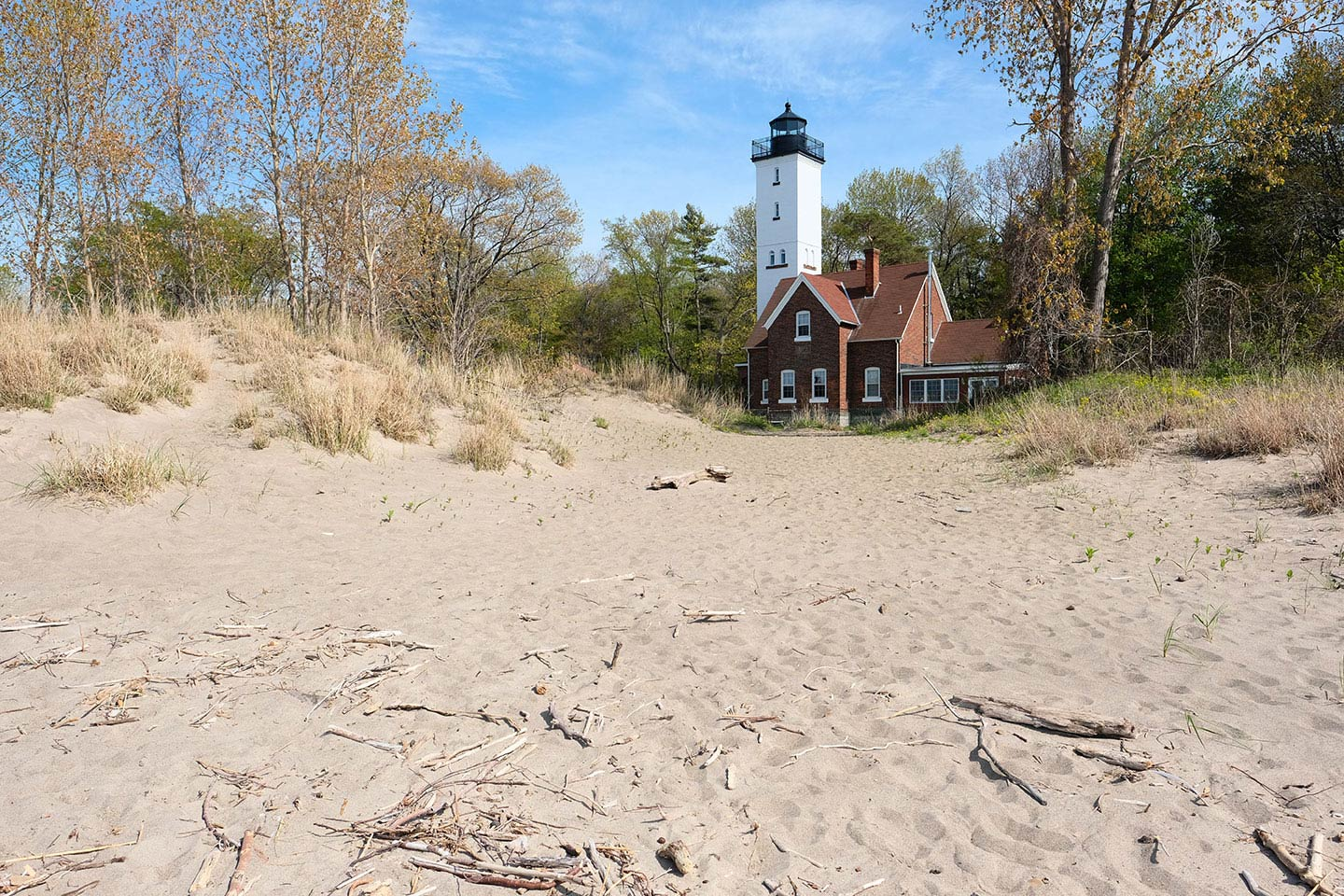 Lighthouse on the sand in Erie