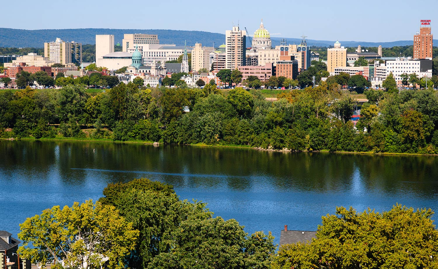 Bright blue water surrounded by tall leafy trees set against the cityscape of Harrisburg