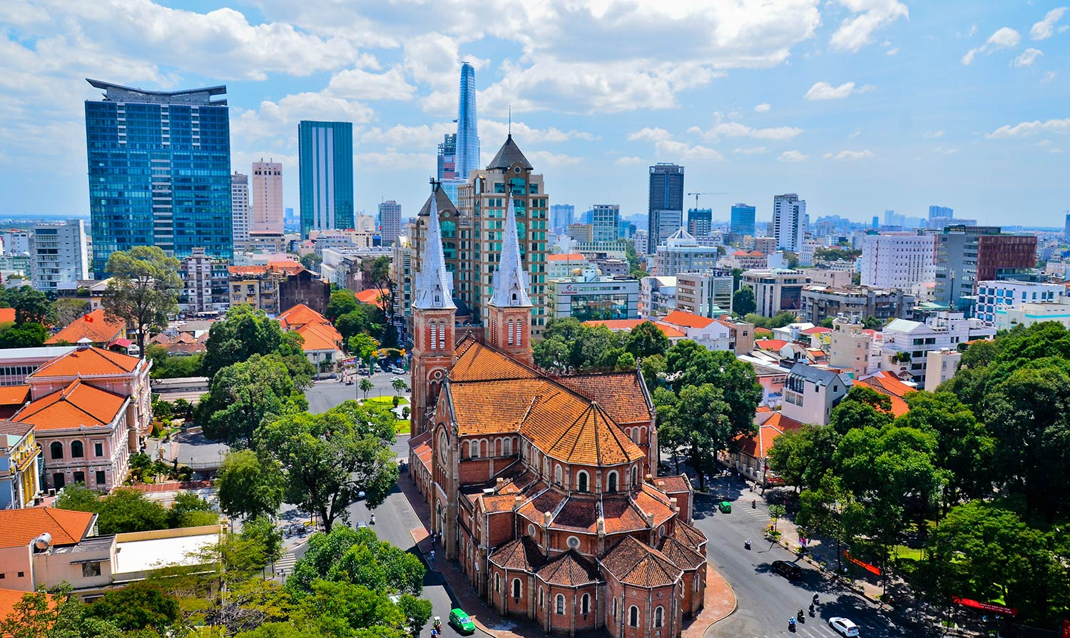 Aerial view of Ho Chi Minh City on a sunny day