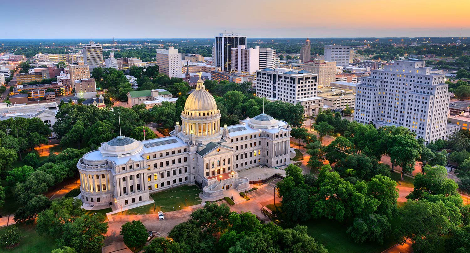 Aerial view of the Capitol Building of Jackson