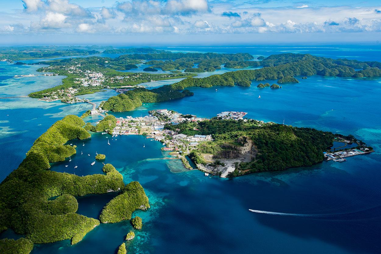 Aerial view of green islands in Koror