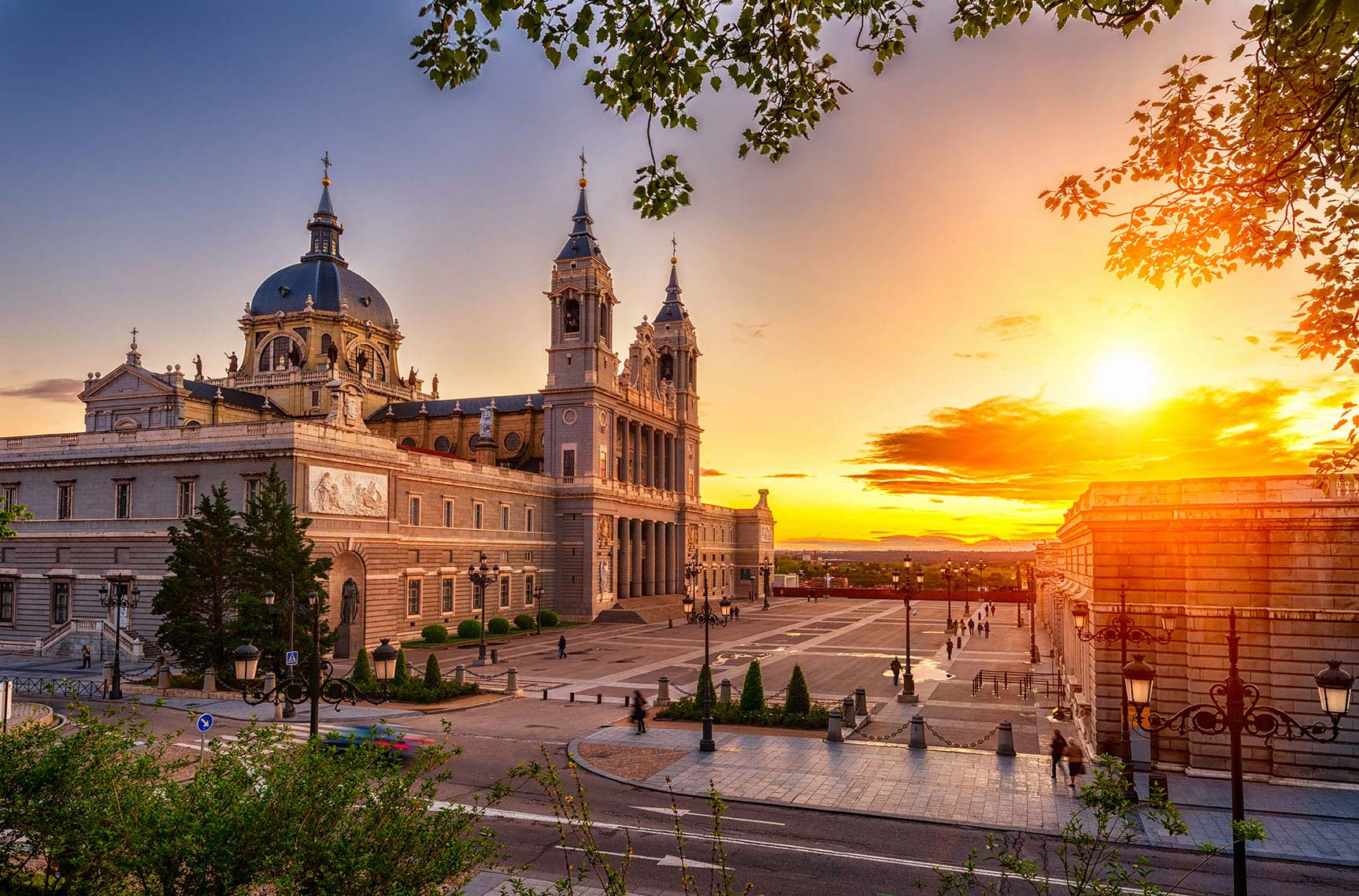 A view of downtown Madrid at sunset