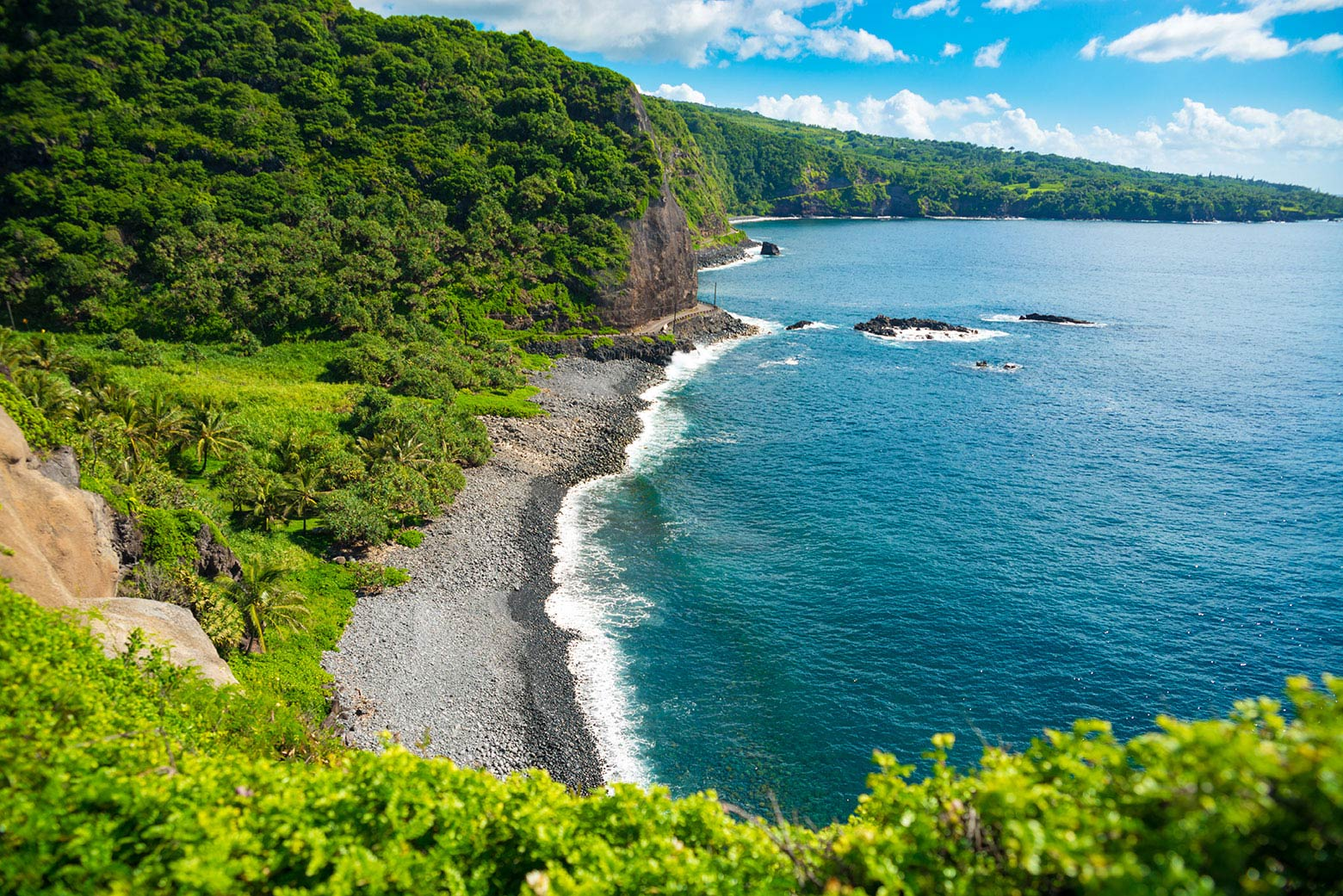 Curved rocky coastline of Maui with turquoise water on the right and dense foliage on the left
