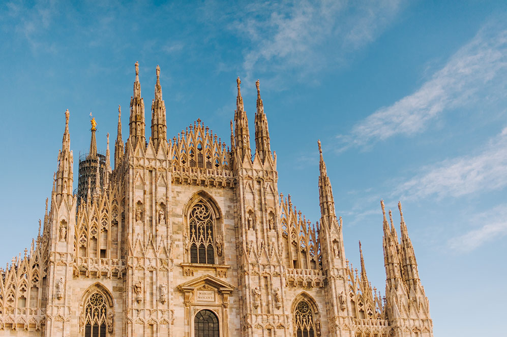 A cathedral in Milan on a sunny day