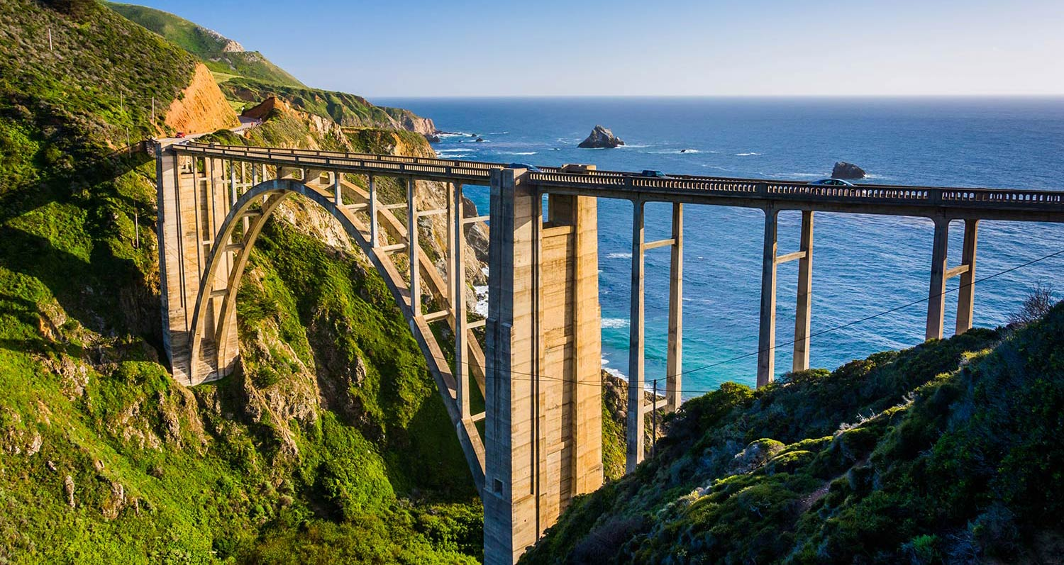 A suspended bridge along the coastline in Monterey