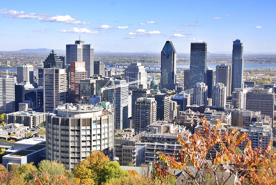 Aerial view of downtown Montreal in autumn
