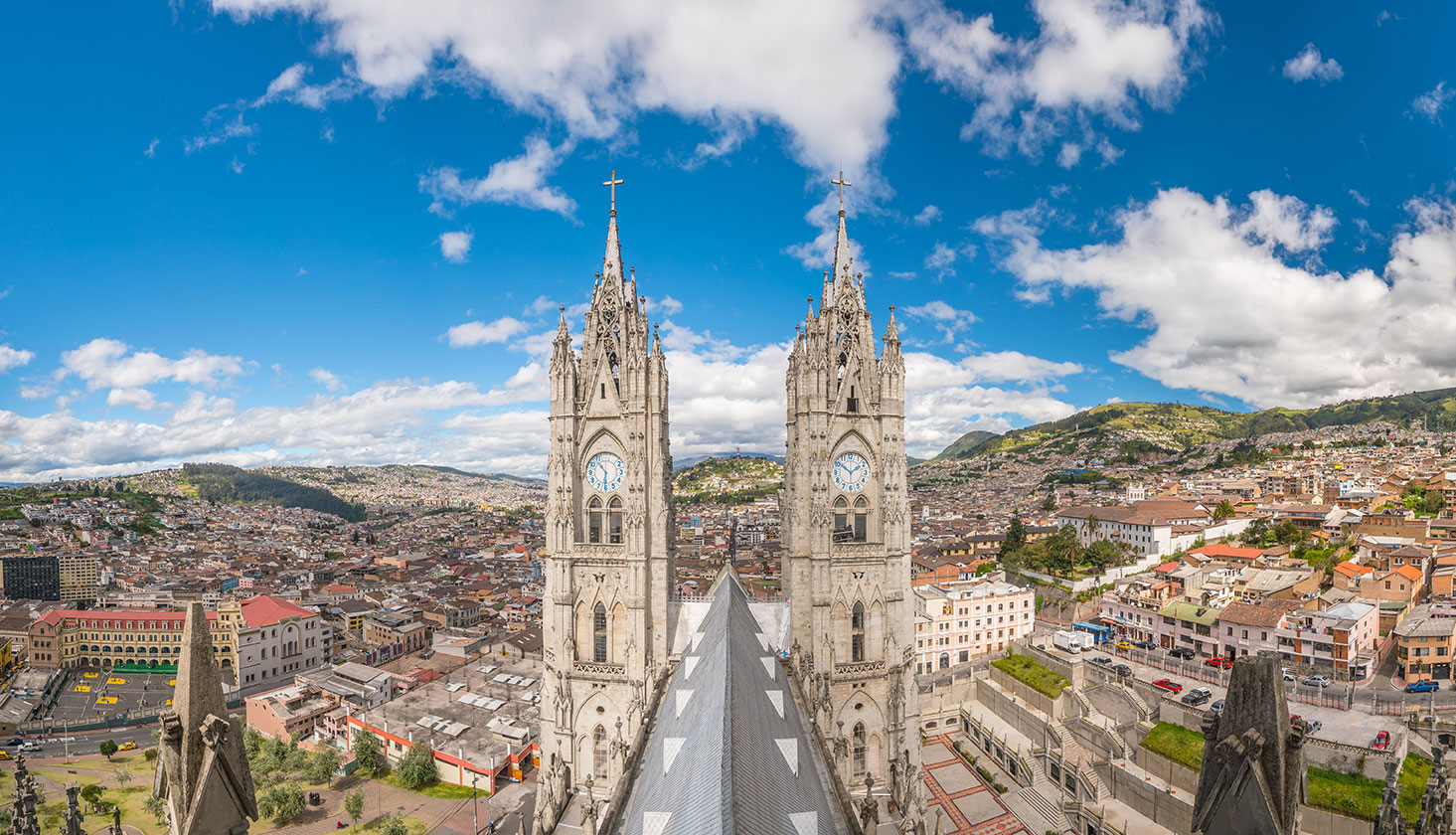 Aerial view of Quito on a sunny day