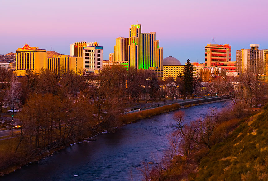 Downtown Reno at sunset