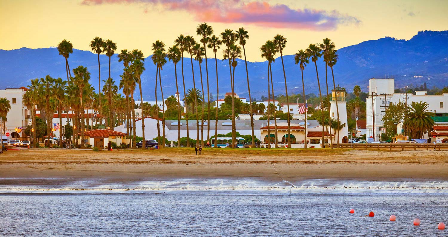 Slender palm trees line the sandy beach in Santa Barbara