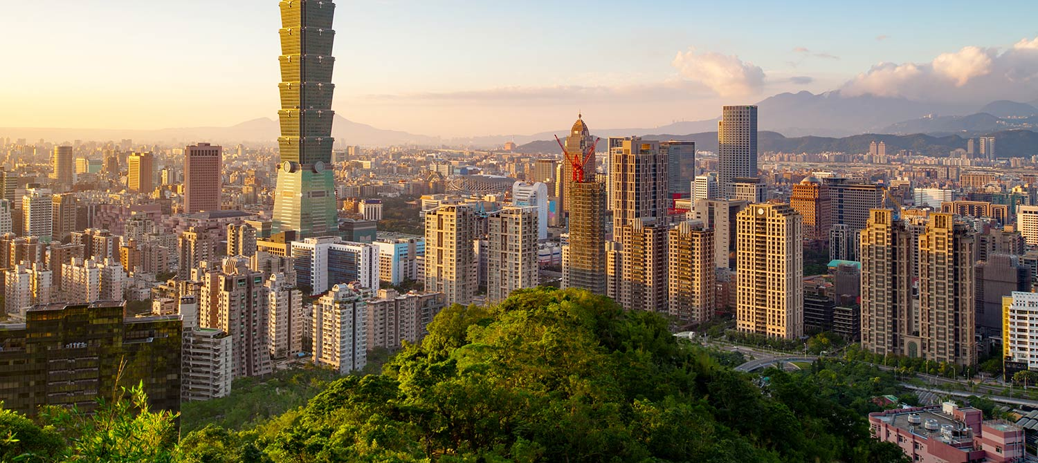 Aerial view of downtown Taipei at sunset